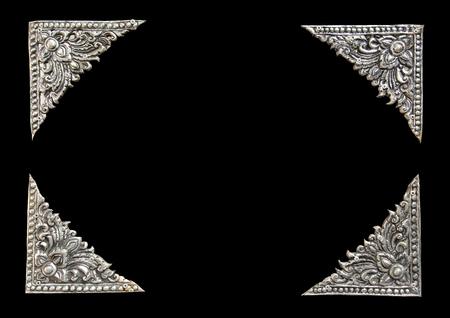lanna: Photo frame ,Decorative Art of Lanna Thai silver carving art Stock Photo