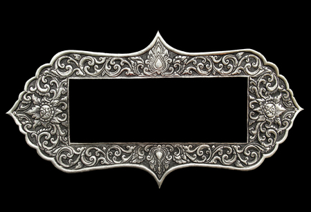 Photo frame ,Decorative Art of Lanna Thai silver carving art Stock Photo
