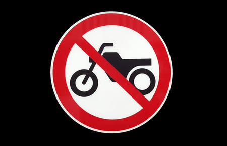 No motorcycle sign isolate on black background. Stock Photo