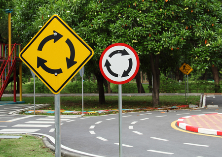Roundabout traffic sign background