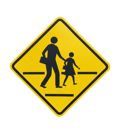 Children crossing the road sign isolated on white background