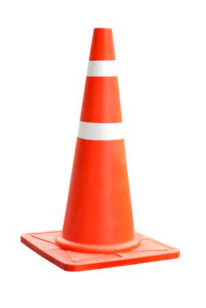 Oranje plastic kegel met reflecterende strepen geïsoleerd op een witte achtergrond Stockfoto - 66413552