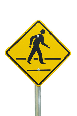 People crossing the road sign isolated on white background Stock Photo