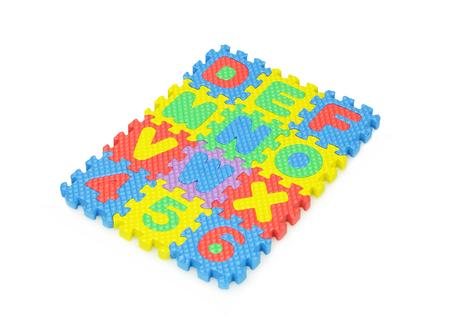 Alphabet and number jigsaw set isolated on white background.