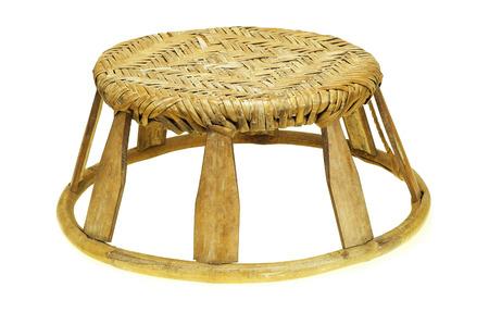 Rattan stool on white background