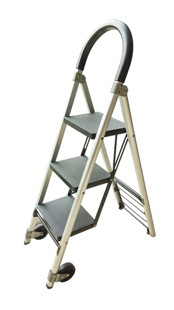 metallic stairs: Ladder isolated on the white background.