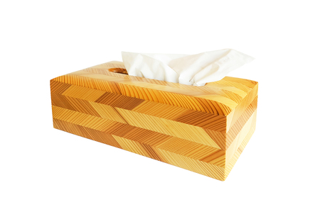 Wooden tissue box isolated on white background Imagens