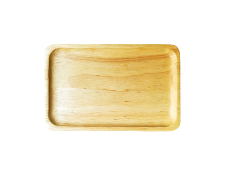Wooden tray isolated on white background Stock Photo - 85286623