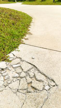 Cement concrete floor broken, Destroy damage effect background