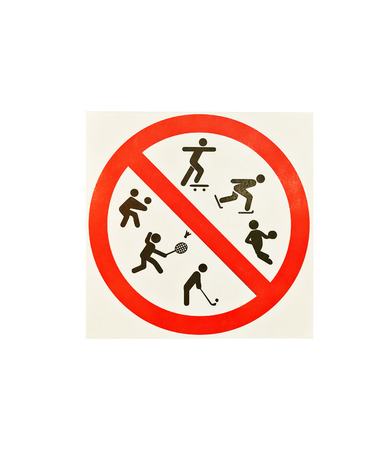 Signs are not allowed to play sports in the park. Stock Photo