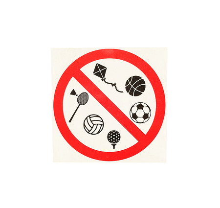 Signs are not allowed to play sports in the park. Stock Photo - 85630079