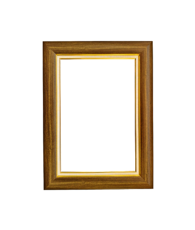 Wooden photo frame isolated on white background Stock Photo