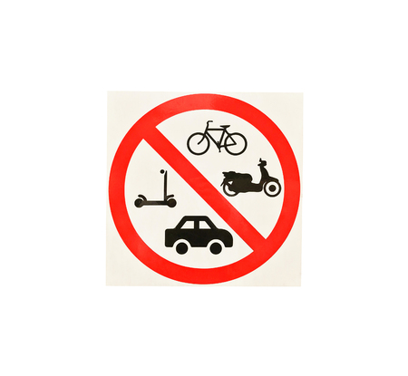 No parking for car, Bicycles and Mopeds isolate on white background.