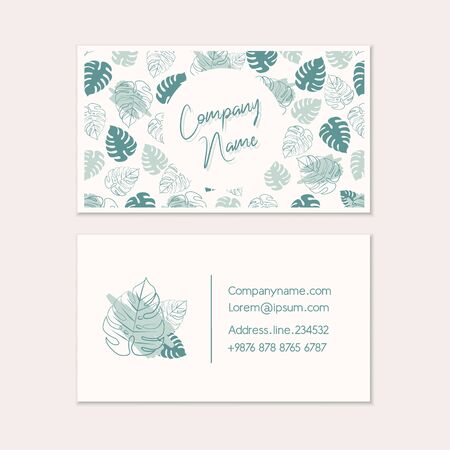 Business card templates. Tropical business card design