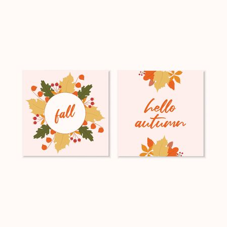 Autumn card template. Thanksgiving invitation.Cards with autumn leaves. Иллюстрация
