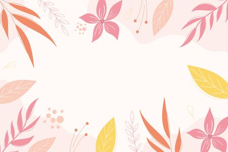 Modern botanical background design in pink colors with space for text.Floral banner template.