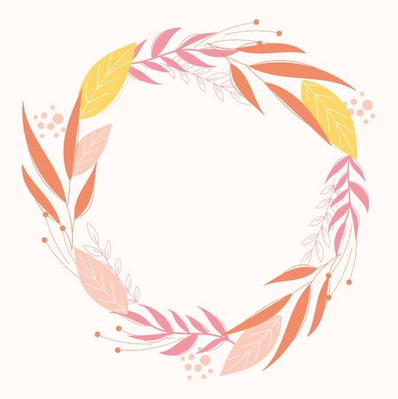 Modern botanical wreath design in pink colors. Floral frame template for invitation and weadding cards.