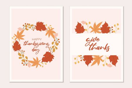 Happy thanksgiving card template. Autumn cards design.