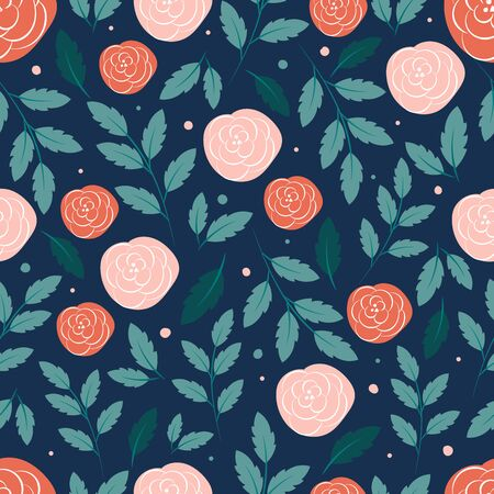 Modern botanical seamless pattern with leaves and flowers. Floral background
