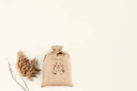 Zero waste gift on a light beige background. View from above. Stock fotó