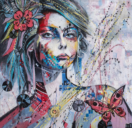 fine arts: Fantasy portrait of an arrogan girl with her out thought, Original painting Whats inside
