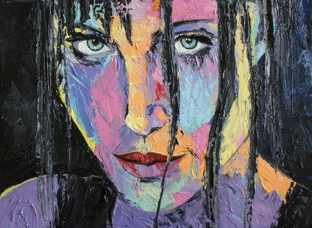 modern art painting: Fatnasy portrait of a girl in gestural style. Original oil painting I Know. Stock Photo