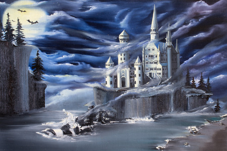 cliff: A fantasy about drem island with a castle on it. Original oil painting Uncharted