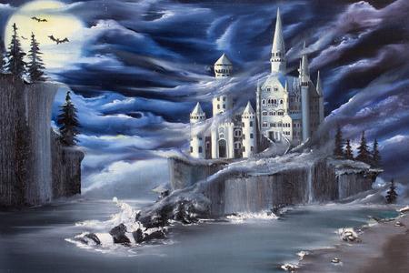 """Een fantasie over Drem eiland met een kasteel op het. Origineel olieverfschilderij """"Uncharted"""" Stockfoto"""