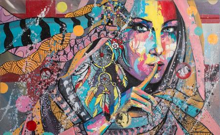 Ritratto di fantasia su un tema di Dream Catcher talismano del Nord America Lacota tribù. Pittura a olio originale. Archivio Fotografico - 47935713