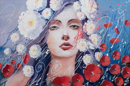 'Venus' tranen 'origineel olieverfschilderij, een fantasie portret van een vrouw die lijkt op Venus in greif Stockfoto