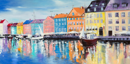Copenhagen bay, surrounded by colorful buildings and cafes, with few sail ships on a bright sunny day, Original oil paintings. Stockfoto