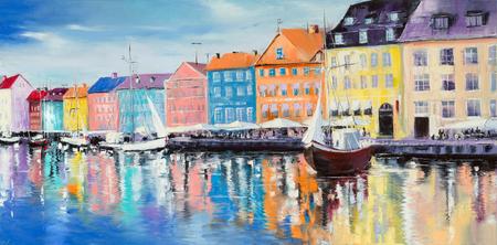 Kopenhagener Bucht, umgeben von bunten Gebäuden und Cafes, mit wenigen Segelschiffen an einem hellen sonnigen Tag, Original Ölgemälde.