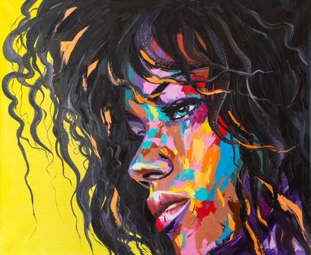 A woman on the verge of anger. Original oil painting on canvas.