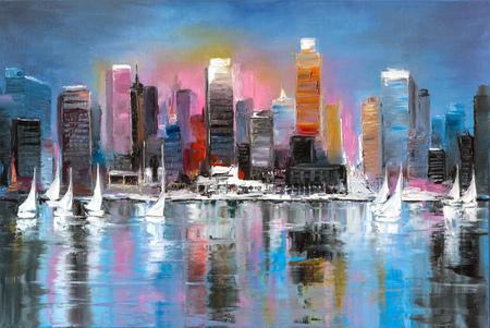 Een zondagse vrije tijd in een kustplaats, origineel olieverfschilderij op doek