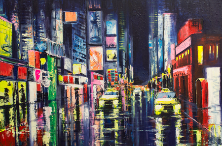 Original acrylic painting on canvas City reflections