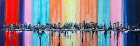 Abstract city skyline, oil painting on canvas Stock fotó