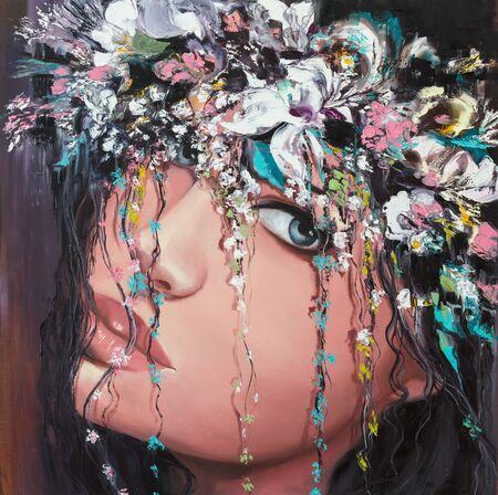 Young woman wearing flower crown fantasy portrait Stock fotó