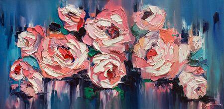 Red flowers under falling rain, original artwork