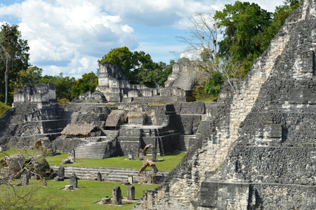 archaeological site: North Acropolis structures on the Grand Plaza of Tikal National Park and archaeological site, Guatemala Stock Photo