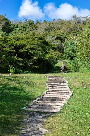 Steps leading to the pyramids of the archaeological site of Chinkultic in Chiapas, Mexico Banco de Imagens