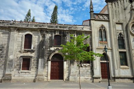 colonial building: Colonial building of Colegio La Asuncion de Leon, on the main Plaza of Leon, Nicaragua