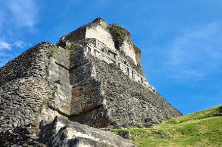 tourism in belize: The main pyramid El Castillo at Xunantunich archaeological site of Mayan civilization in Western Belize