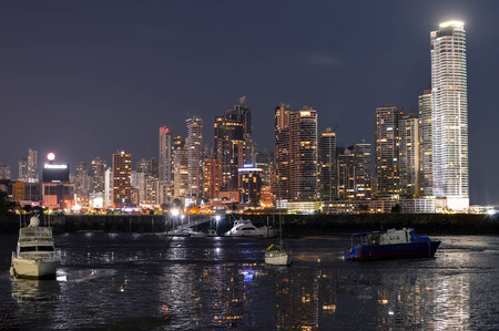 sea life centre: Panama City, Panama - August 29, 2015: Panama city skyline is seen at night on August 29, 2015 in Panama, Central America. Editorial