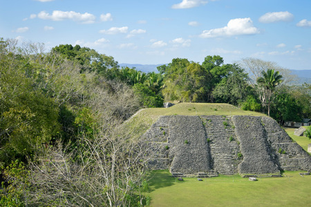 tourism in belize: The pyramid at the Plaza A-1 at Xunantunich archaeological site and the panoramic views seen from the top of El Castillo pyramid, San Ignacio, Belize