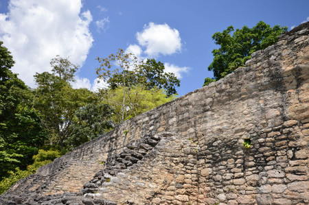 ignacio: Close up of the front wall of Caana pyramid at the Caracol archaeological site of Maya civilization in Belize