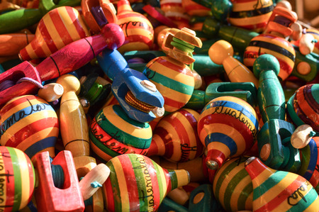 Traditional wooden handicrafts made by Maya people in Antigua, Guatemala