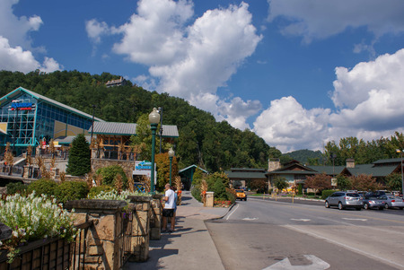 great smokies: Gatlinburg, Tennessee, USA - October 1, 2014: Downtown of the small town of Gatlinburg and Smoky Mountains landscapes around it - the highlights of traveling in Tennessee, USA