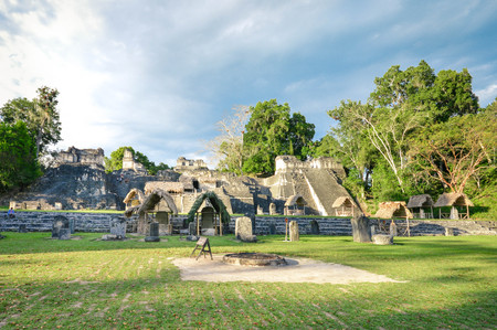North Acropolis structures on the Grand Plaza of Tikal National Park and archaeological site, Guatemala. Central America Stock Photo