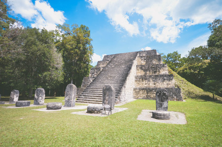 One of the twin pyramids of the Complex Q and numerous stellae in Tikal National Park and archaeological site, Guatemala. Central America. Matte filter