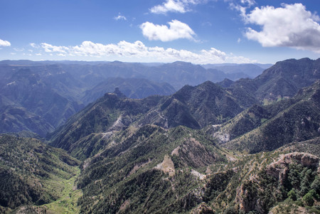Mountainous landscapes of Copper Canyons in Chihuahua, Mexico Stock Photo